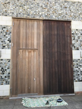 african hardwood doors, windows and frames reoiled for another season (or 5)